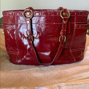 Authentic Coach Red Patent Leather Tote